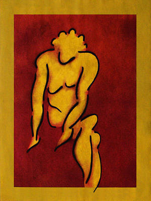 Female Nude Against A Red Background I Poster by Estefan Gargost