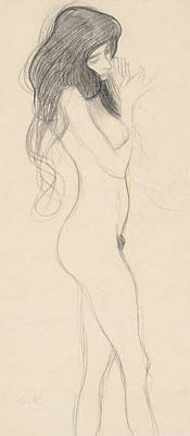 Female Nude Standing Drawing Poster