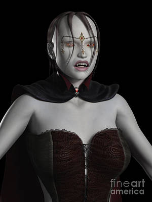 Female Vampire Portrait Poster by Fairy Fantasies