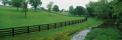 Fence In A Field, Woodford County Poster by Panoramic Images