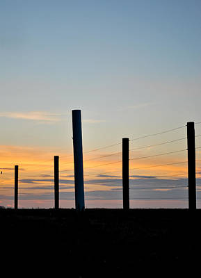 Fence Posts At Sunset Poster