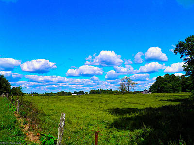 Fence Row And Clouds Poster