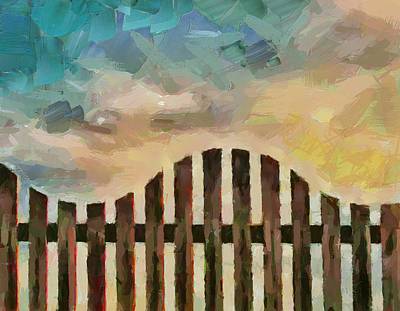 Fence Sunset Poster by Yury Malkov
