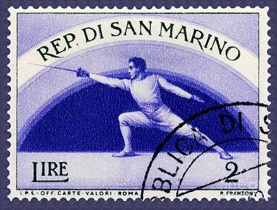 Fencing On San Marino Stamp Poster