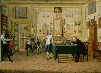 Fencing Scene At The Neopolitan Residence Of Kenneth Mackenzie 1744-81 1st Earl Of Seaforth, 1771 Poster by Pietro Fabris
