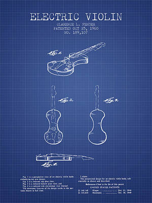 Fender Electric Violin Patent From 1960 - Blueprint Poster by Aged Pixel
