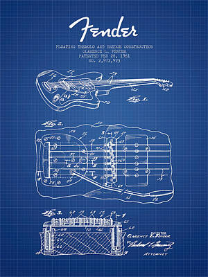 Fender Floating Tremolo Patent Drawing From 1961 - Blueprint Poster