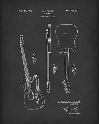 Poster featuring the drawing Fender Guitar 1951 Patent Art Black by Prior Art Design