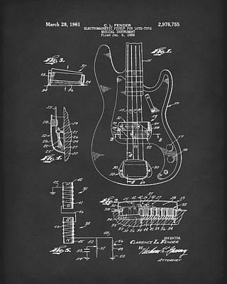 Fender Guitar March 1961 Patent Art Black Poster by Prior Art Design