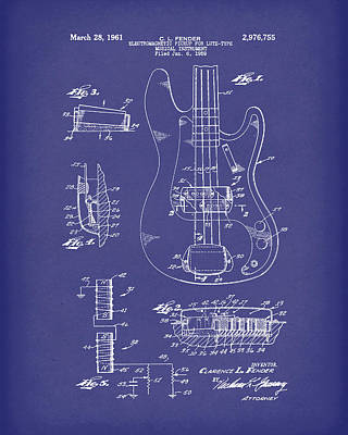Fender Guitar March 1961 Patent Art Blue Poster by Prior Art Design