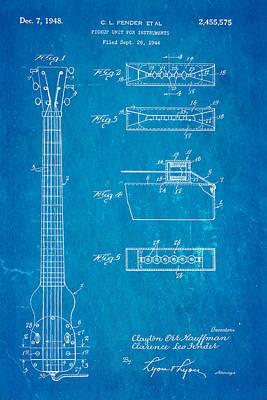 Fender Instrument Pickup Patent Art 1948 Blueprint Poster