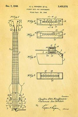 Fender Instrument Pickup Patent Art 1948  Poster