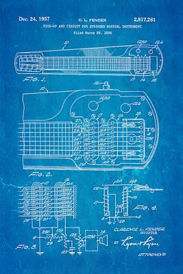 Fender Pick-up Patent Art 1957 Blueprint Poster