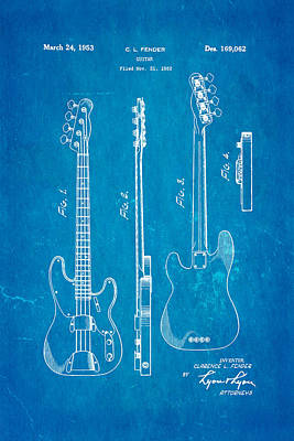 Fender Precision Bass Guitar Patent Art 1953 Blueprint Poster by Ian Monk