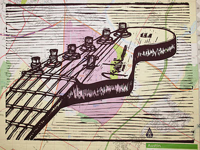 Fender Strat On Map Poster by William Cauthern