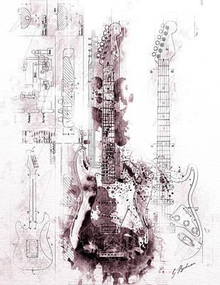 Fender Strat Scarlet Drip Poster by Gary Bodnar
