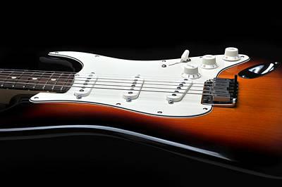 Fender Stratocaster Guitar On Black Background Poster