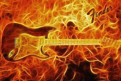 Fender Stratocaster Poster by Taylan Apukovska