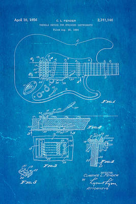 Fender Stratocaster Tremolo Arm Patent Art 1956 Blueprint Poster by Ian Monk