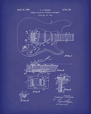 Fender Tremolo Device 1956 Patent Art Blue Poster by Prior Art Design
