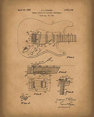 Fender Tremolo Device 1956 Patent Art Brown Poster by Prior Art Design