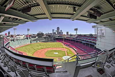 Fenway Park And Boston Skyline Poster by Susan Candelario