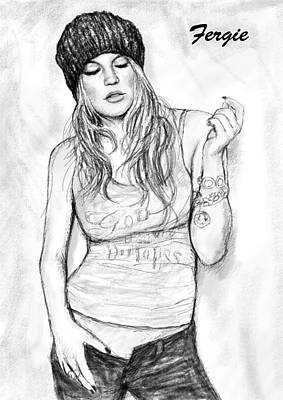 Fergie Art Drawing Sketch Portrait Poster by Kim Wang