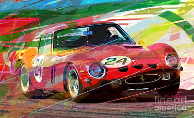 Ferrari 250 Gto Vintage Racing Poster by David Lloyd Glover