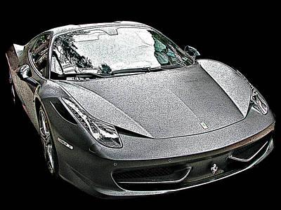 Ferrari 458 Italia In Matte Black Front View Poster by Samuel Sheats