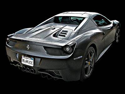 Ferrari 458 Italia In Matte Black Rear Poster
