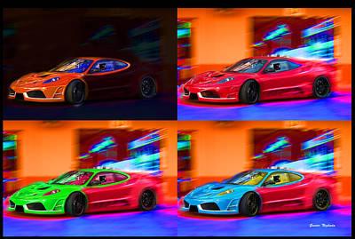 Poster featuring the photograph Ferrari Collage by Gunter Nezhoda