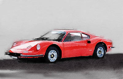 Ferrari Dino 246 Gt Watercolor Poster by Naxart Studio