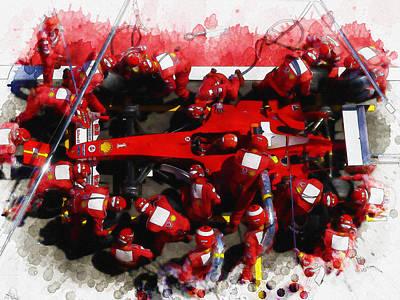 Ferrari Make Changes In Pit Lane Poster