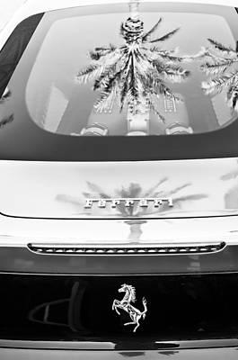 Ferrari Rear Emblem -0062bw Poster