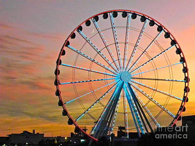 Ferris Wheel Sunset Poster