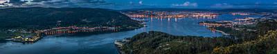 Ferrol's Estuary Panorama From La Bailadora Galicia Spain Poster by Pablo Avanzini