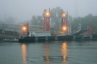 Ferry Dock In Fog On The Mississippi Poster by Jim West