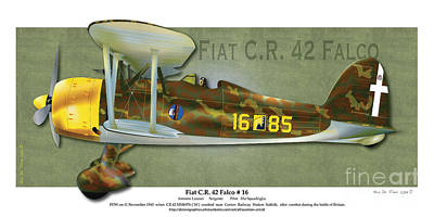 Poster featuring the drawing Fiat C.r. 42 by Kenneth De Tore