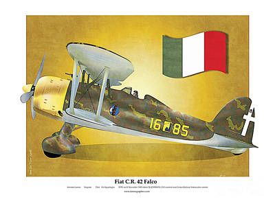 Poster featuring the drawing Fiat Falco C.r.42 by Kenneth De Tore