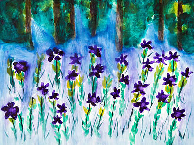 Field Of Violets Poster by Frank Bright