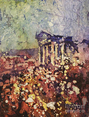 Fields Of Flower- And Roman Temple Poster