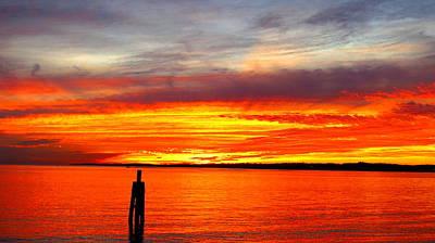 Fiery Fall Sunset Poster by Stephen Melcher