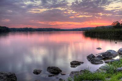 Fiery Lake Sunset Poster