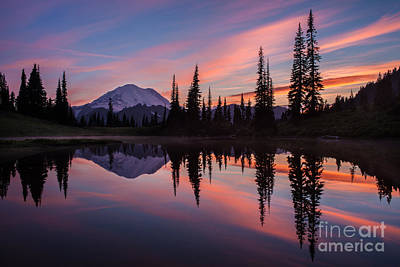 Fiery Rainier Sunset Poster by Mike Reid