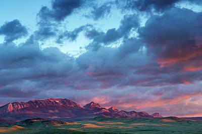 Fiery Sunrise Light Strike Choteau Poster by Chuck Haney