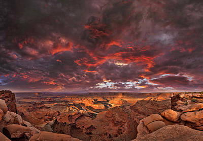 Poster featuring the photograph Fiery Sunrise Over Dead Horse Point State Park by Sebastien Coursol