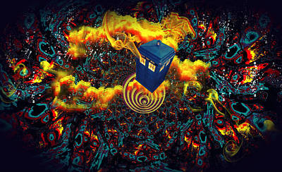 Poster featuring the painting Fiery Time Vortex by Digital Art Cafe