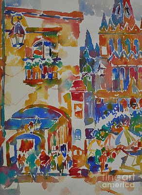 Poster featuring the painting Fiesta El Jardin by Roger Parent