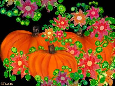 Fiesta Pumpkins Poster by Christine Fournier