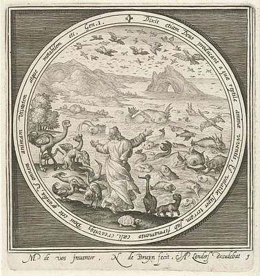 Fifth Day Of Creation, God Creates Fish And Birds Poster by Nicolaes De Bruyn And Assuerus Of Londerseel